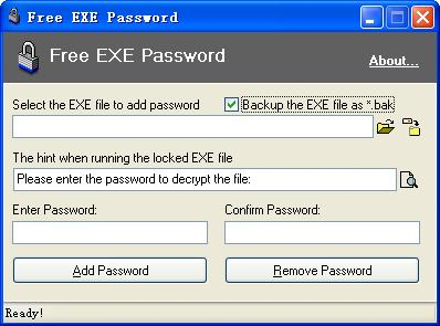 Password protect Windows executable file.
