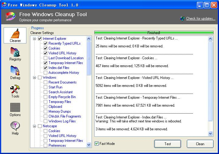 Click to view Free Windows Cleanup Tool 1.8 screenshot